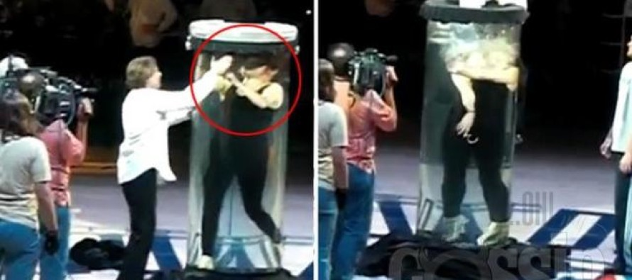 OMG! Magician's water torture cell goes horribly wrong in front of 17,000 fans
